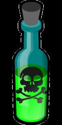 Giftflasche mit hellgrüner Flüssigkeit